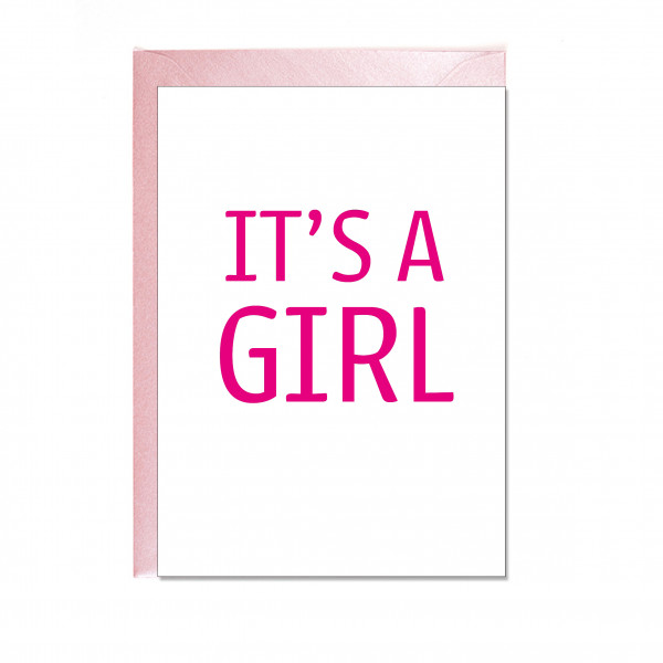 Faltkarte hoch, IT'S A GIRL, fuchsia