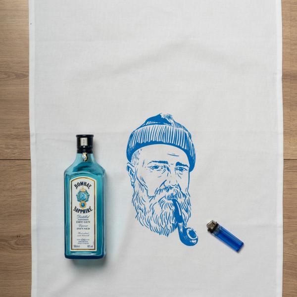 Geschirrtuch weiss, SEEMANN, blau