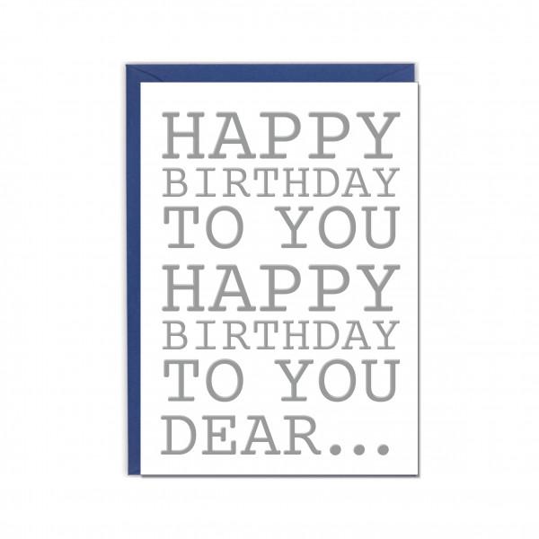Faltkarte hoch, HAPPY BIRTHDAY TO YOU silber