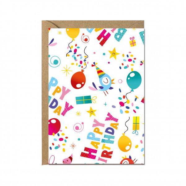 Faltkarte hoch, HAPPY BIRTHDAY bunt