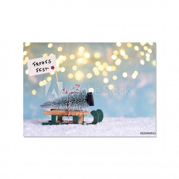 Postkarte quer, FROHES FEST Schlitten