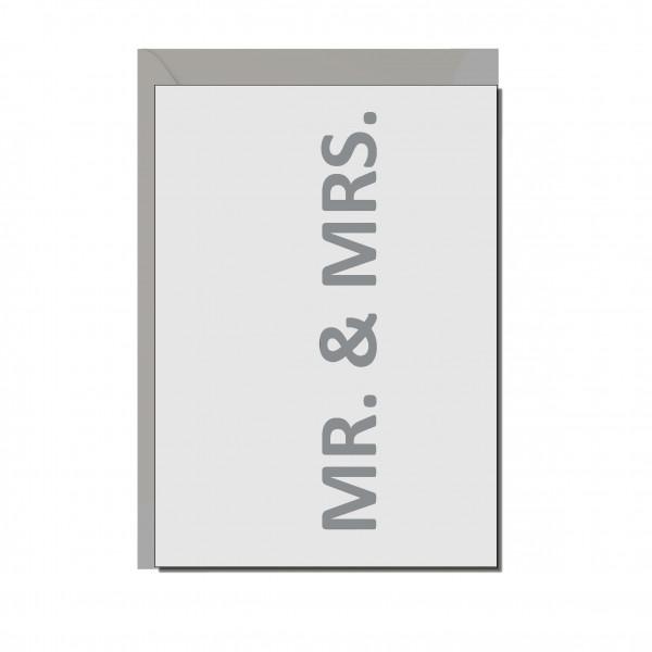 Faltkarte quer, MR. & MRS., silber matt