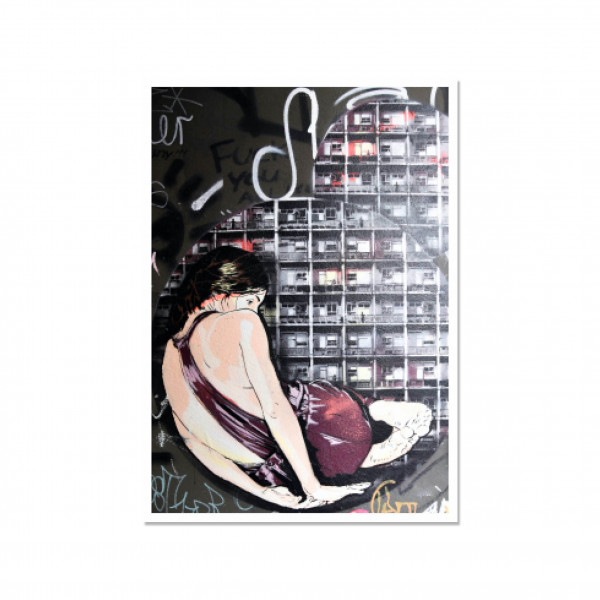 Postkarte hoch, Streetart, CAGED WOMAN