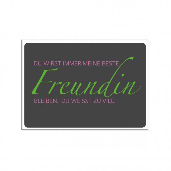 Postkarte quer, DU WIRST IMMER MEINE BESTE Freundin BLEIBEN. DU WEISST ZU VIEL!