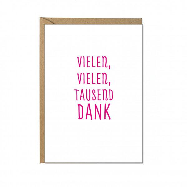 Faltkarte hoch, VIELEN, VIELEN, TAUSEND DANK, neon pink