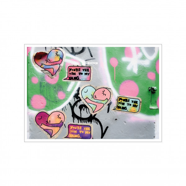 Postkarte quer, Streetart, YIN AND YANG