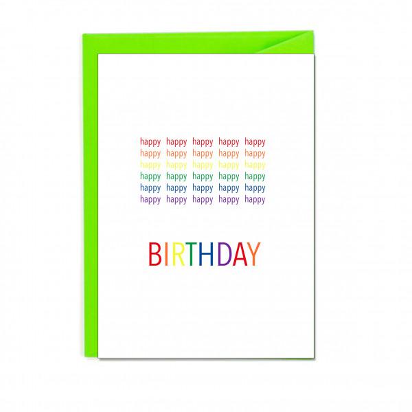 Faltkarte hoch, happy happy happy BIRTHDAY