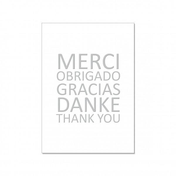 Postkarte hoch, MERCI OBRIGADO GRACIAS DANKE THANK YOU! mit Heißfolie veredelt
