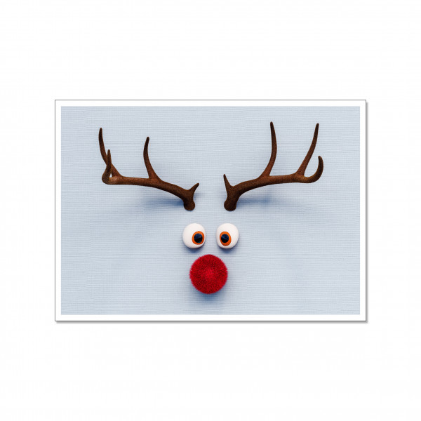 Postkarte quer, RUDOLPH WITH A RED NOSE