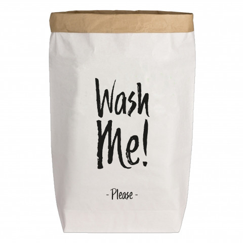 Paperbags Large weiss, WASH ME!, schwarz