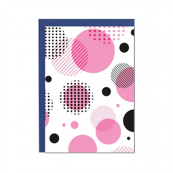 Faltkarte hoch, KREISE pink-schwarz