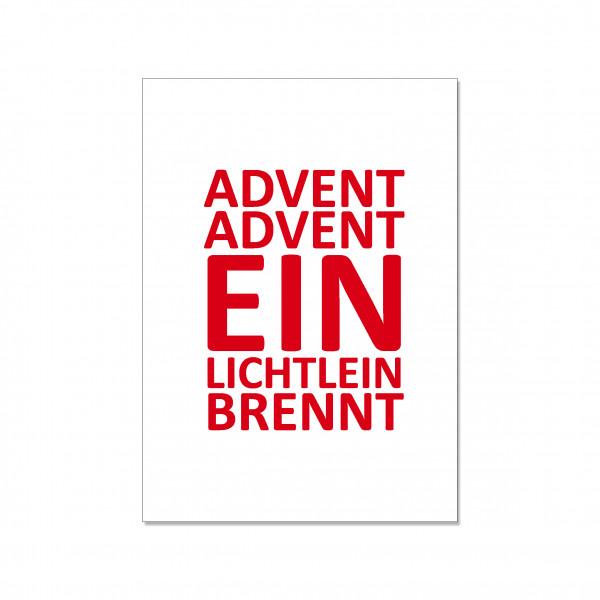 Postkarte hoch, ADVENT ADVENT EIN LICHTLEIN BRENNT, rot