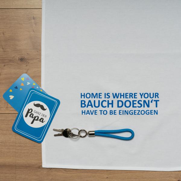 Geschirrtuch weiss, HOME IS WHERE YOUR BAUCH DOESN'T HAVE TO BE EINGEZOGEN, blau