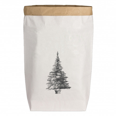 Paperbags Large weiss, WEIHNACHTSBAUM, grau