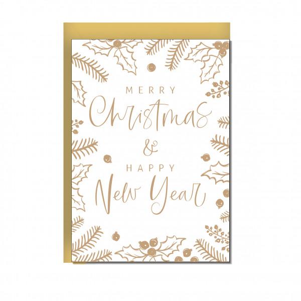 Faltkarte hoch, MERRY CHRISTMAS & HAPPY NEW YEAR (MEET ME UNDER THE MISTLETOE)