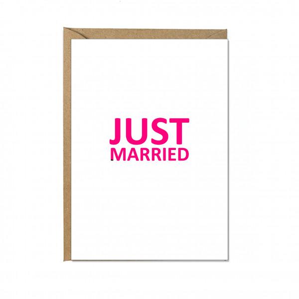 Faltkarte hoch, JUST MARRIED, neon pink