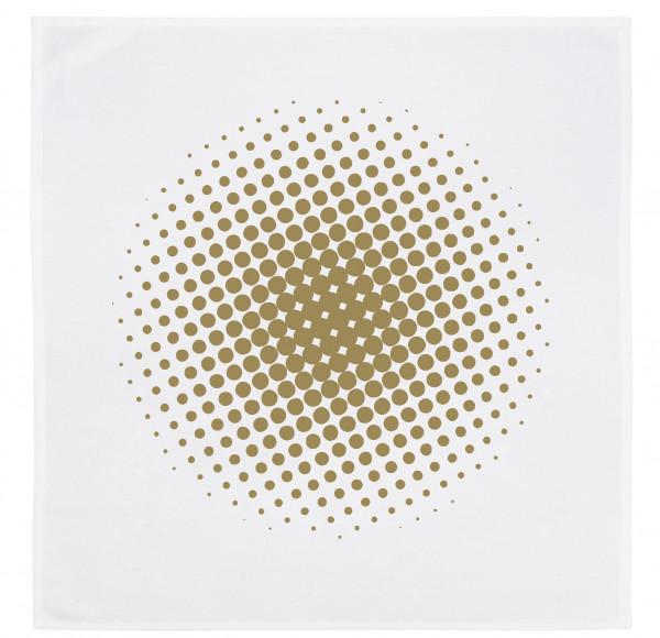 Servietten-Set (2 Stk.) weiss, HALFTONE CIRCLE, gold