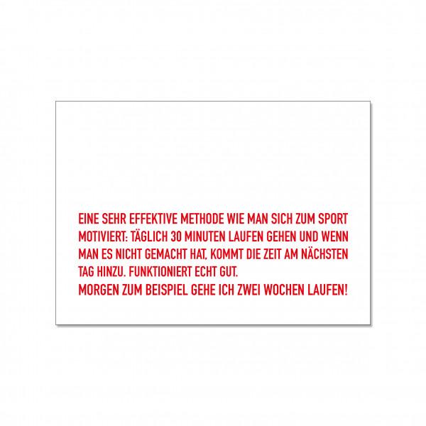 Postkarte quer, EINE SEHR EFFEKTIVE METHODE WIE MAN SICH ZUM SPORT MOTIVIERT: TÄGLICH 30 MINUTEN LAU