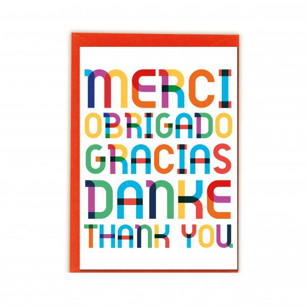 Faltkarte hoch, MERCI OBRIGADO GRACIAS DANKE THANK YOU