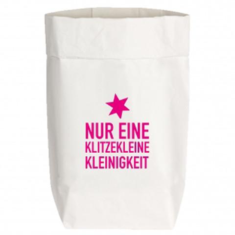 PaperBags Small weiss, NUR EINE KLITZEKLEINE KLEINIGKEIT, neon pink