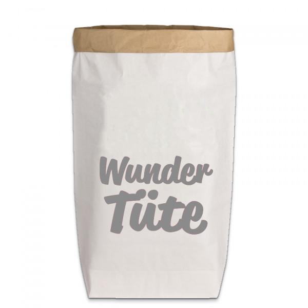 Paperbags Large weiss, WUNDER TÜTE (Schreibschrift), dunkelgrau
