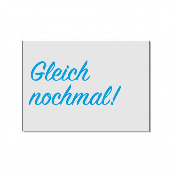 Postkarte quer, GLEICH NOCHMAL!, türkis