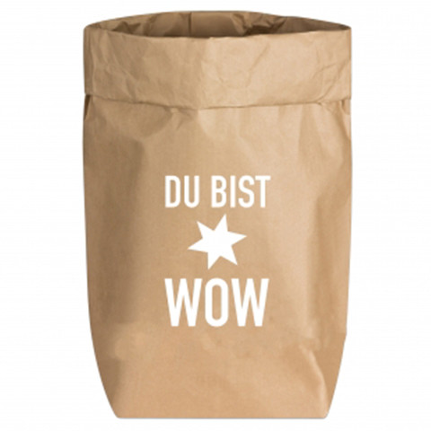 Paperbags Small natur, DU BIST WOW, weiss