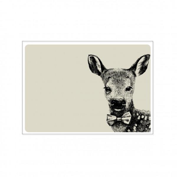 Postkarte quer, HIPSTER HIRSCH