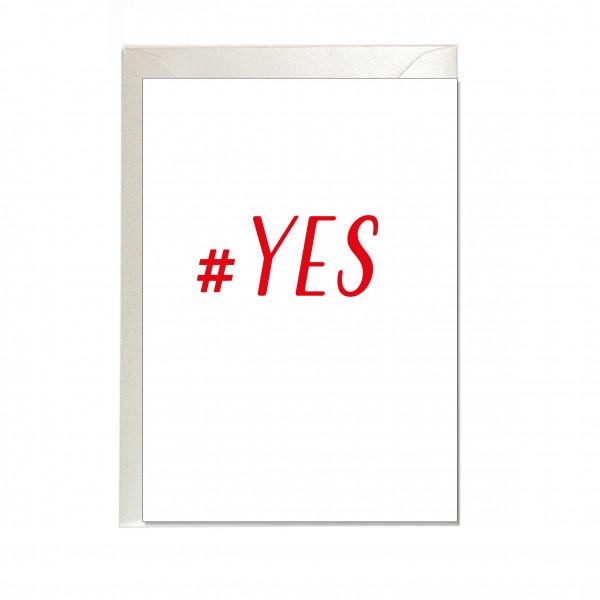 Faltkarte hoch, #YES, rot