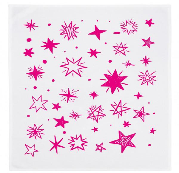 Servietten-Set (2 Stk.) weiss, STERNE, neon pink