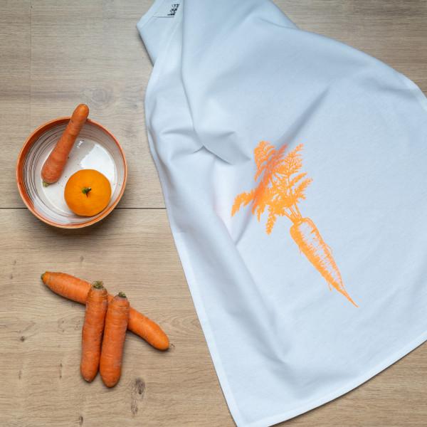 Geschirrtuch weiss, VINTAGE KAROTTE, neon orange