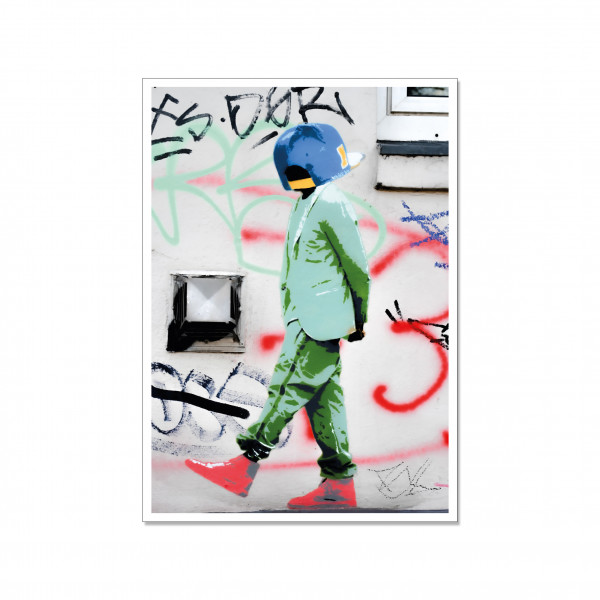 Postkarte hoch, Streetart, CAP HEAD