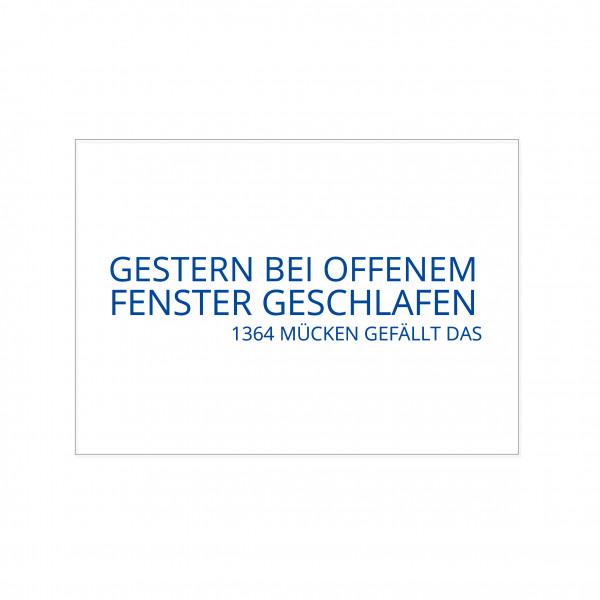Postkarte quer, GESTERN BEI OFFENEM FENSTER GESCHLAFEN - 1364 MÜCKEN GEFÄLLT DAS