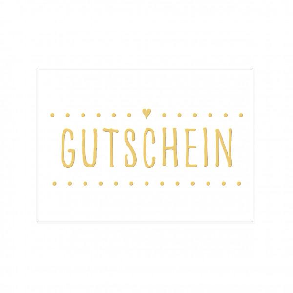 Postkarte quer, GUTSCHEINmit Heißfolie veredelt