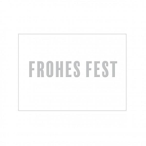 Postkarte quer, FROHES FEST mit Heißfolienprägung in silber