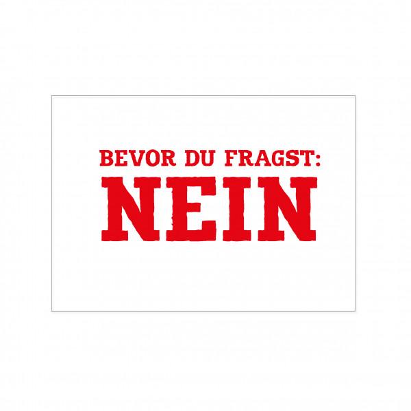 Postkarte quer, BEVOR DU FRAGST: NEIN, rot