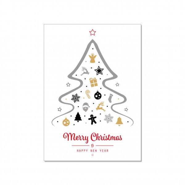 Postkarte hoch, MERRY CHRISTMAS & A HAPPY NEW YEAR