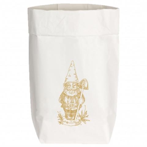 Paperbags Small weiss, GARTENZWERG, metallic gold