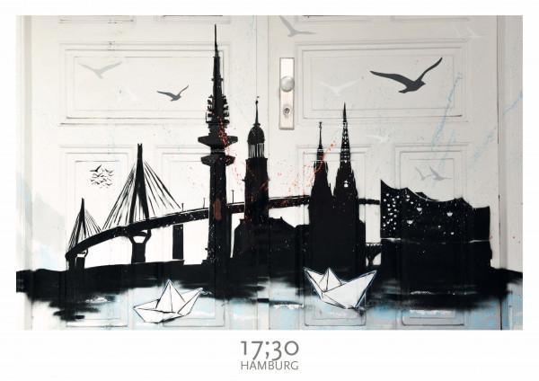 Poster A3 (29,7 x 42cm), HAMBURG CITY SKYLINE