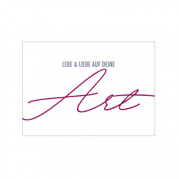 Postkarte quer, LEBE & LIEBE AUF DEINE ART