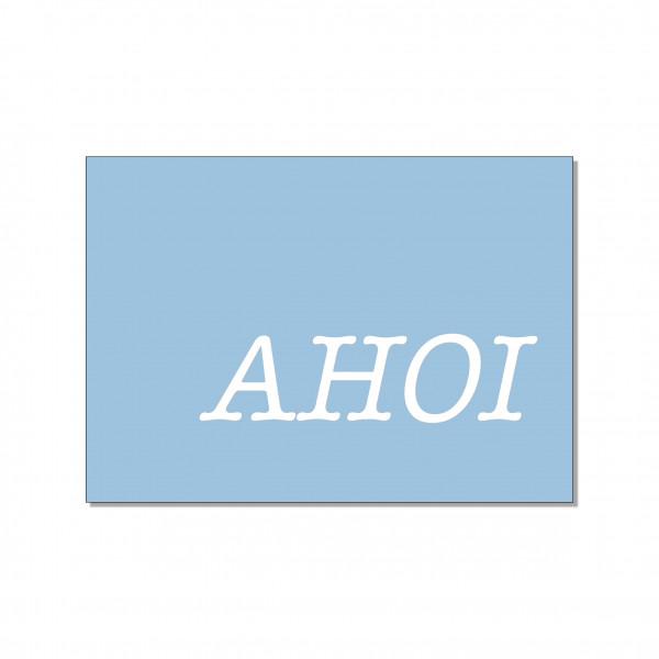 Postkarte quer, AHOI mit Heißfolienprägung in silber