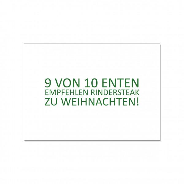 Postkarte quer, 9 VON 10 ENTEN EMPFEHLEN RINDERSTEAK ZU WEIHNACHTEN!