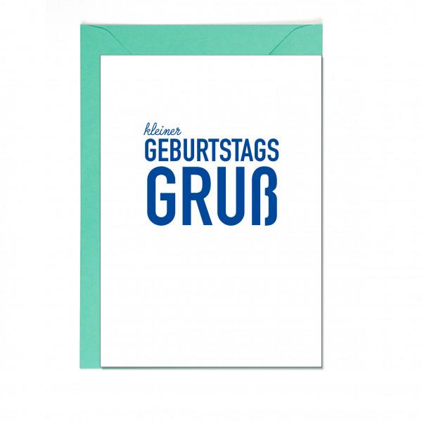 Faltkarte hoch, kleiner GEBURTSTAGSGRUß, blau