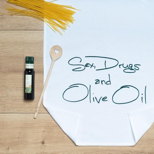 Geschirrtuch weiss, SEX, DRUGS AND OLIVE OIL, grün