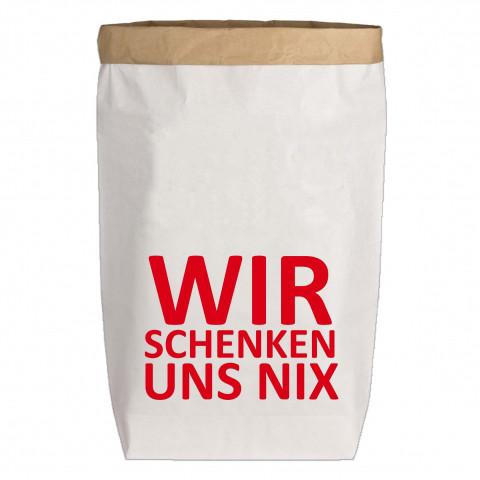 Paperbags Large weiss, WIR SCHENKEN UNS NIX, rot