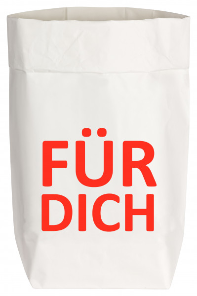 Paperbags Small weiss, FÜR DICH, rot