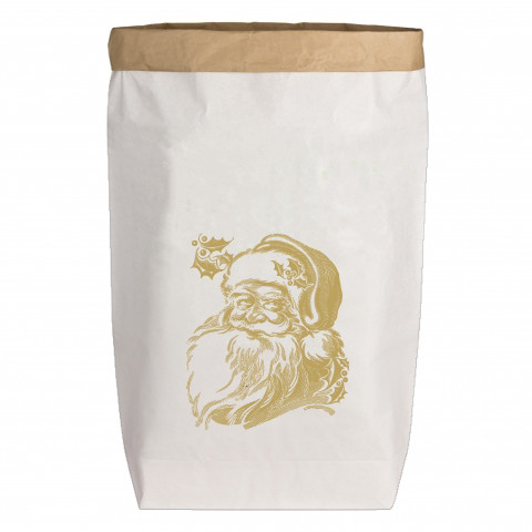 Paperbags Large weiss, WEIHNACHTSMANN, gold