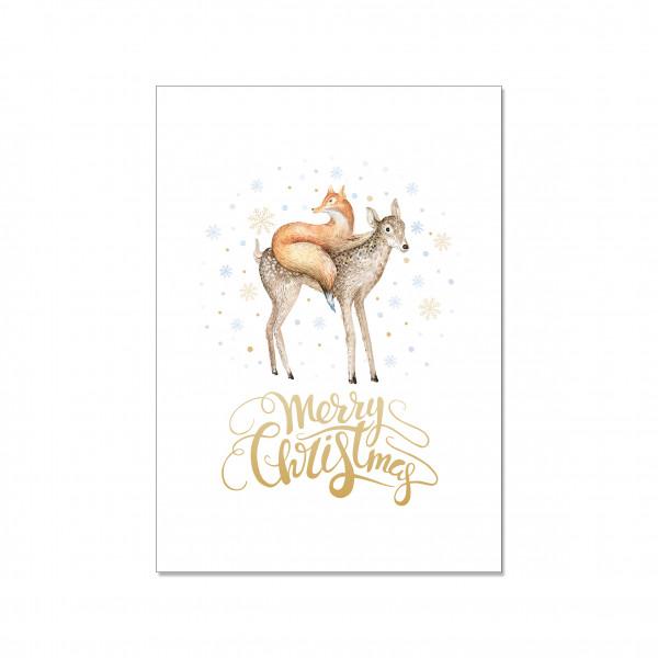 Postkarte hoch, FUCHS, REH & MERRY CHRISTMAS