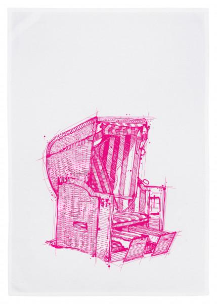 Geschirrtuch weiss, STRANDKORB, neon pink