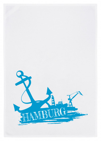 Geschirrtuch weiss, HAMBURG AHOI, blau